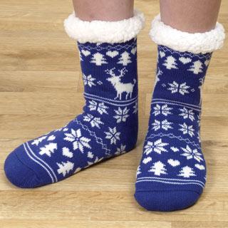 Blue Nordic Print Slipper Socks