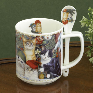 Christmas Cats Mug & Spoon Set
