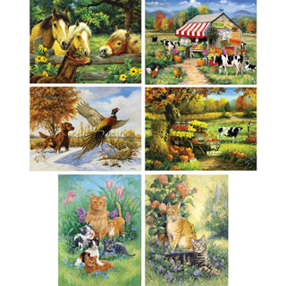 Set of 6: Linda Picken 550 Piece Jigsaw Puzzles