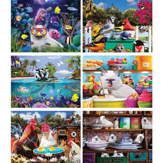 Set of 6: Karen Burke 300 Large Piece Jigsaw Puzzles