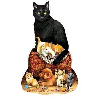 Kitty on Ottoman 1000 Piece Shaped Jigsaw Puzzle
