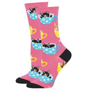 Pink Cat in Teacup Socks