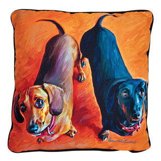 Large Dog Pillow - Double Dachshunds