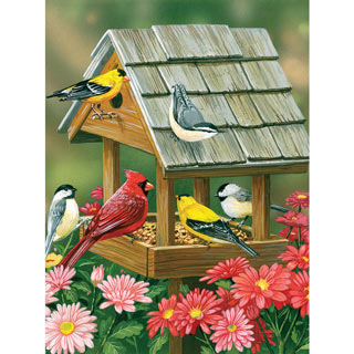 Backyard Birds Fall Feast 550 Piece Jigsaw Puzzle