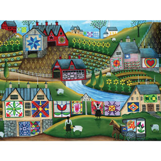 Country Harvest Folk Art Quilt Farms 300 Piece Jigsaw Puzzle