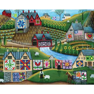 Country Harvest Folk Art Quilt Farms 1000 Piece Jigsaw Puzzle
