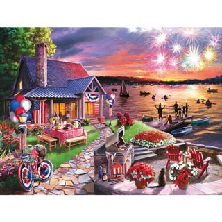 On The Lake On The Fourth 300 Large Piece Jigsaw Puzzle