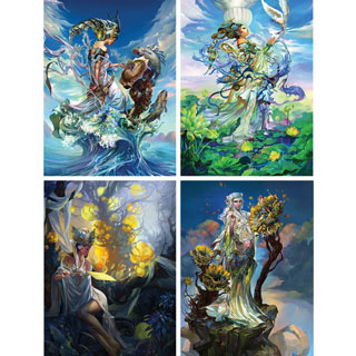 Set of 4: Chen Wei 300 Large Piece Jigsaw Puzzles