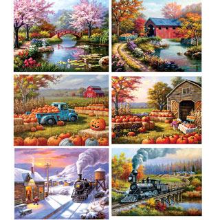 Set of 6: Sung Kim 300 Large Piece Jigsaw Puzzles