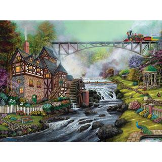 Cobblestone Mill Overpass 500 Piece Jigsaw Puzzle