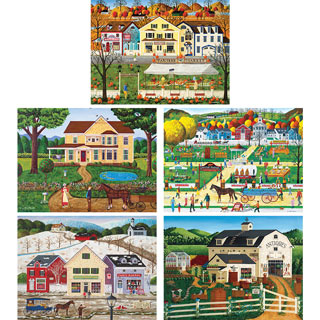 Set of 5: Art Poulin 1000 Piece Jigsaw Puzzles