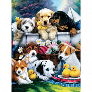 Bath Time Pups 300 Large Piece Jigsaw Puzzle