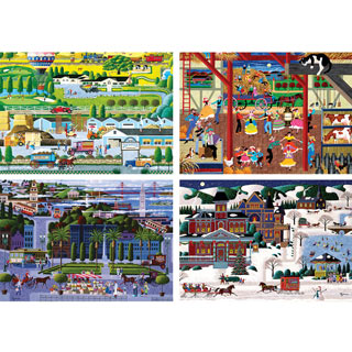 Set of 4: Hometown 300 Large Piece Jigsaw Puzzles