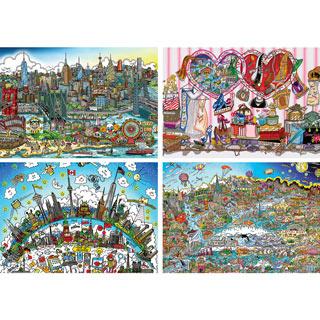 Set of 4: Charles Fazzino 1000 Piece Jigsaw Puzzles