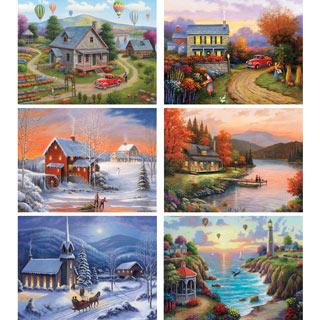 Set of 6: John Zaccheo 500 Piece Jigsaw Puzzles