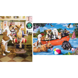 Set of 2: Funny Dog 300 Large Piece Jigsaw Puzzles