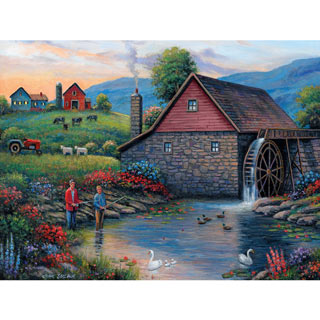 Fishing By The Waterwheel 500 Piece Jigsaw Puzzle