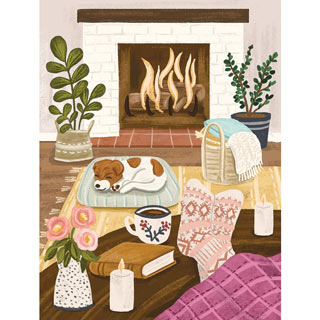 Cozy Fireplace With Candle 500 Piece Jigsaw Puzzle