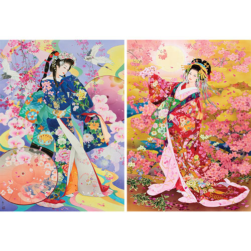 Set of 2: Haruyo Morita Geisha 1000 Piece Jigsaw Puzzles