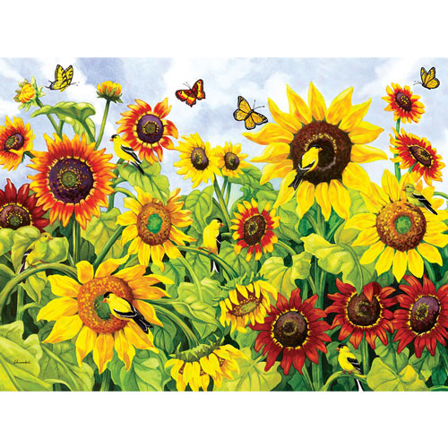 Sunflowers and Goldfinches 1000 Piece Jigsaw Puzzle