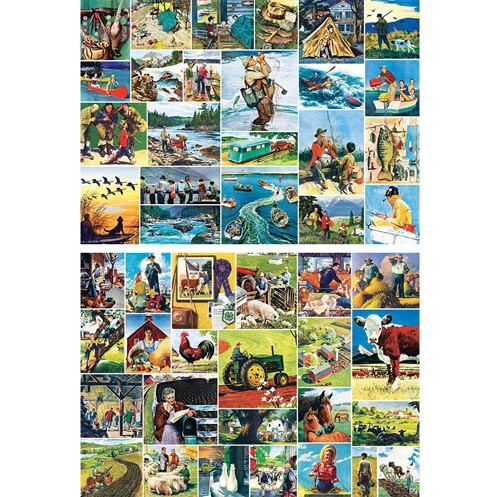 Set of 2: Norman Rockwell Collage 1000 Piece Jigsaw Puzzles