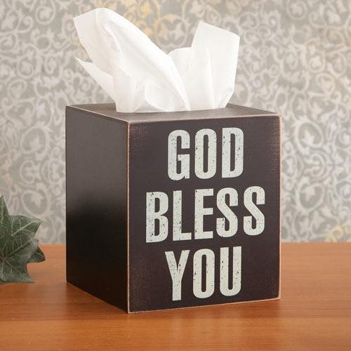 God Bless You Tissue Holder