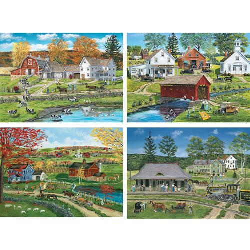 Set of 4: Bob Fair 300 Large Piece Jigsaw Puzzles