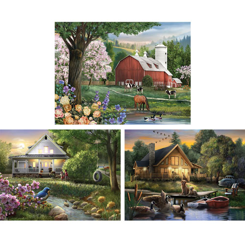 Set of 3: Henry Petersen 300 Large Piece Jigsaw Puzzles