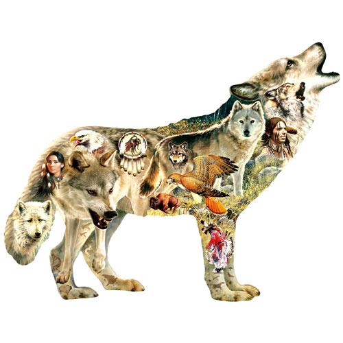 Howling Wolf Shaped Jigsaw 750 Piece Jigsaw Puzzle