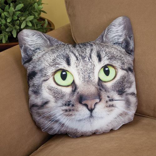 Gray Tabby Cat Face Pillow