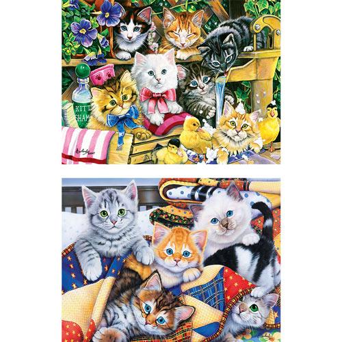Set of 2: Jenny Newland Cat 300 Large Piece Jigsaw Puzzles