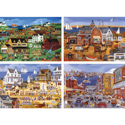 Set of 4: Carol Dyer Seaside 300 Piece Jigsaw Puzzles