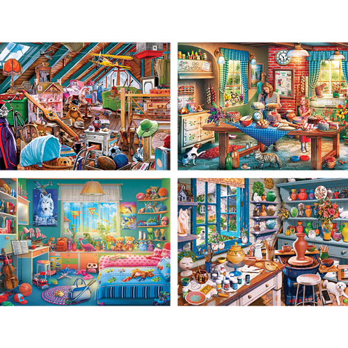 Set of 4: Home Sweet Home 550 Piece Jigsaw Puzzles