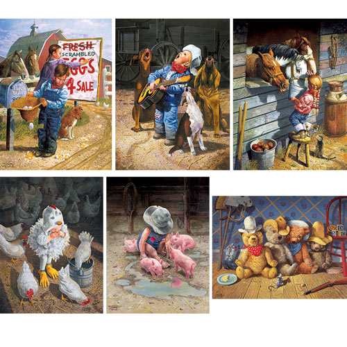 Set of 6: Don Crook 500 Piece Western Jigsaw Puzzles