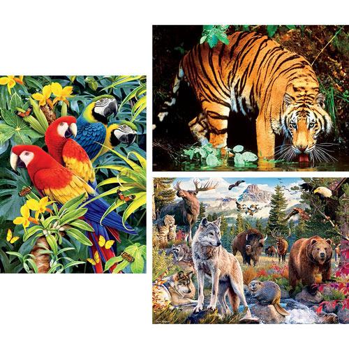 Set of 3: Animal 1000 Piece Jigsaw Puzzles