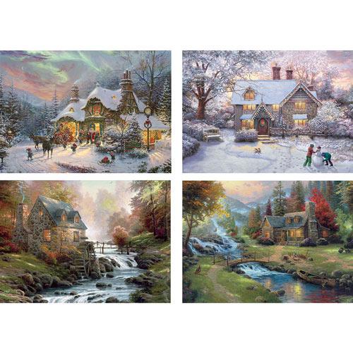 Set of 4: Thomas Kinkade 1000 Piece Jigsaw Puzzles