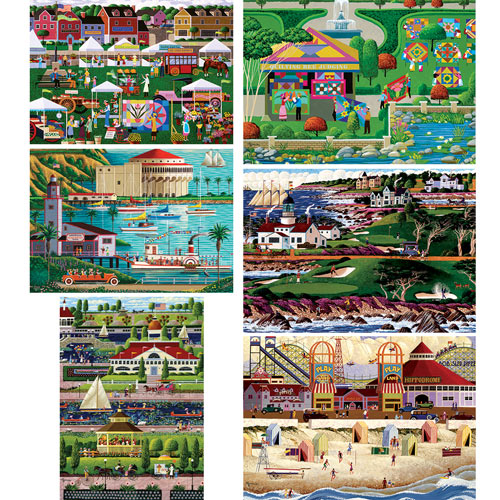 Set of 6: Heronim Hometown 300 Large Piece Jigsaw Puzzles