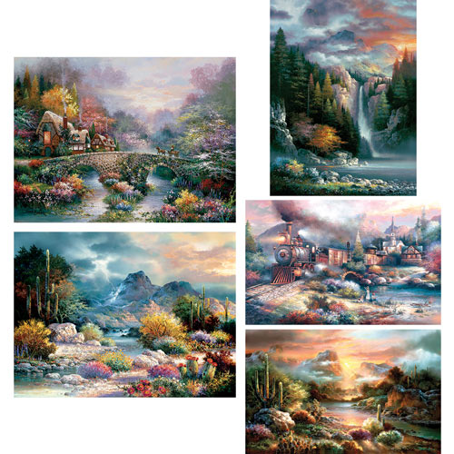 Set of 5: James Lee 300 Large Piece Jigsaw Puzzles