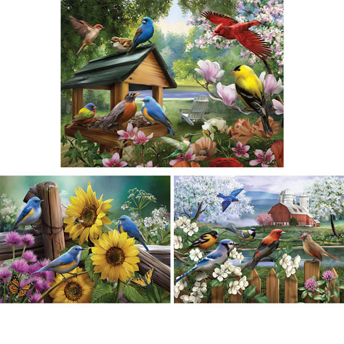 Set of 3: Feathered Friends 550 Piece Jigsaw Puzzles