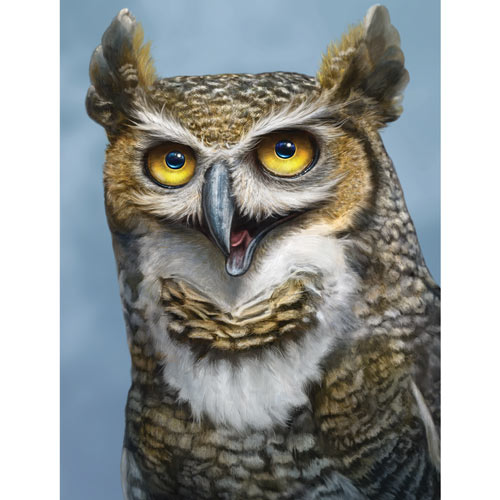 Happy Horned Owl 300 Large Piece Jigsaw Puzzle