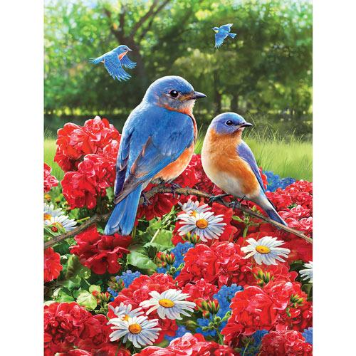 Summer Bluebirds & Geraniums 550 Piece Jigsaw Puzzle