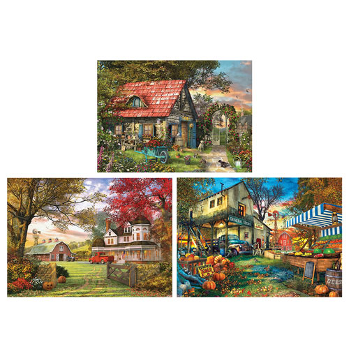 Set of 3: Dominic Davison 300 Large Piece Jigsaw Puzzles