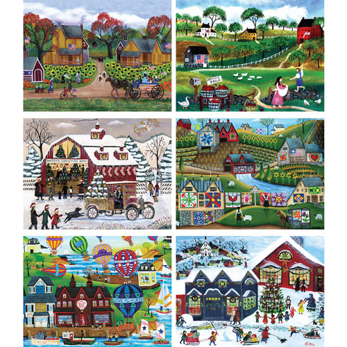 Set of 6: Cheryl Bartley 300 Large Piece Jigsaw Puzzles