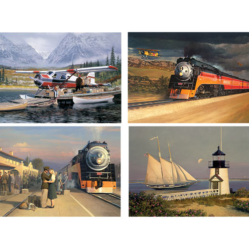 Set of 4: William Phillips 300 Large Piece Jigsaw Puzzles