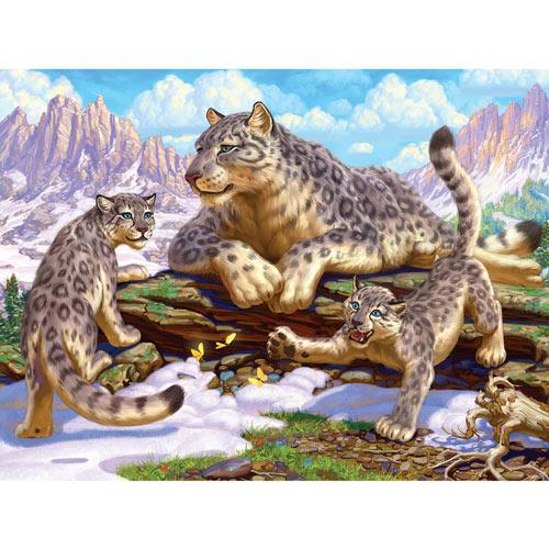 Snow Leopard Family 500 Piece Jigsaw Puzzle
