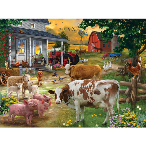 Gathering In The Farm Yard 300 Large Piece Jigsaw Puzzle