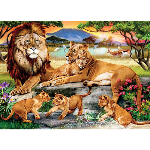 Lion's Family in the Savannah 1000 Piece Jigsaw Puzzle