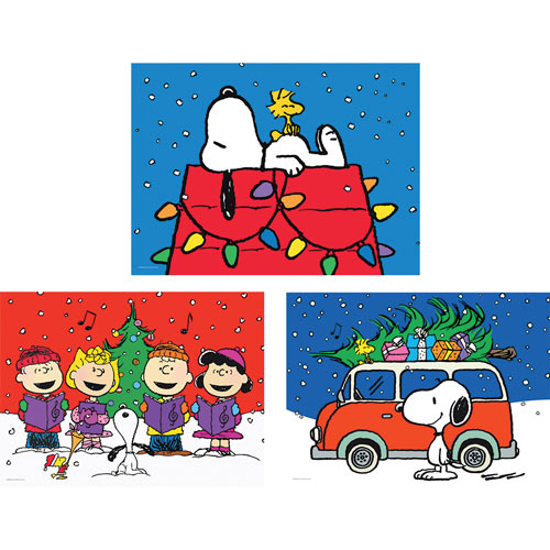 Set of 3: Peanuts 100 Large Piece Jigsaw Puzzles