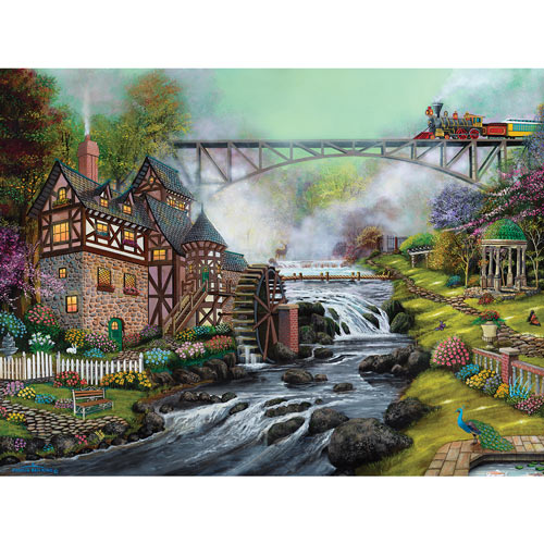 Cobblestone Mill Overpass 300 Large Piece Jigsaw Puzzle