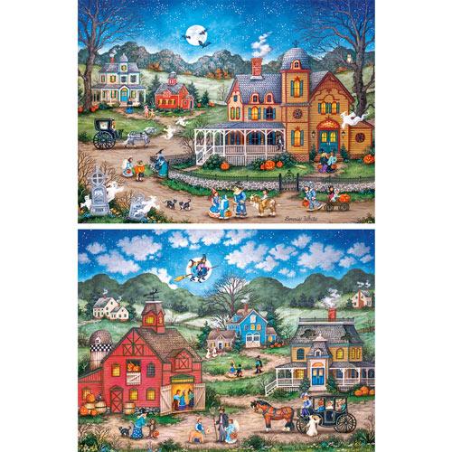 Set of 2: Halloween 550 Piece Jigsaw Puzzles